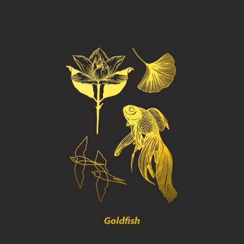 NEUF弗 防水纹身贴《金鱼满堂》金色烫金纹身贴金鱼花朵耀眼美丽11月07日最新优惠