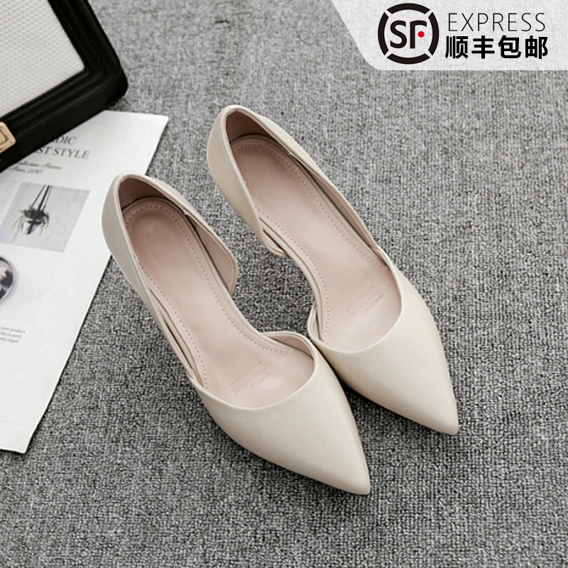 Side space high heels womens thin heel pointed end versatile off white Bridesmaid Wedding Shoes Black professional work shoes