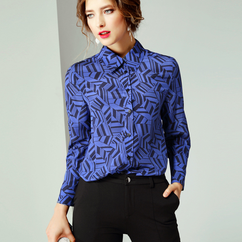2020 European and American womens new spring temperament polo long sleeve geometric pattern printed silk top womens r10550