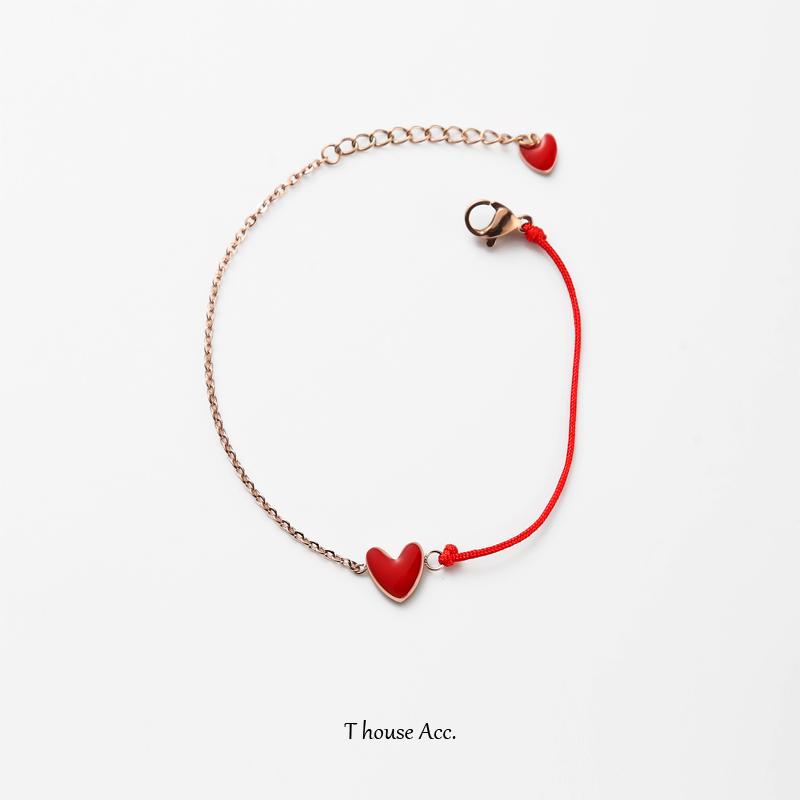 恬屋子 幸运红绳手绘爱心手链 半边链本命年甜美七夕小桃心手链女