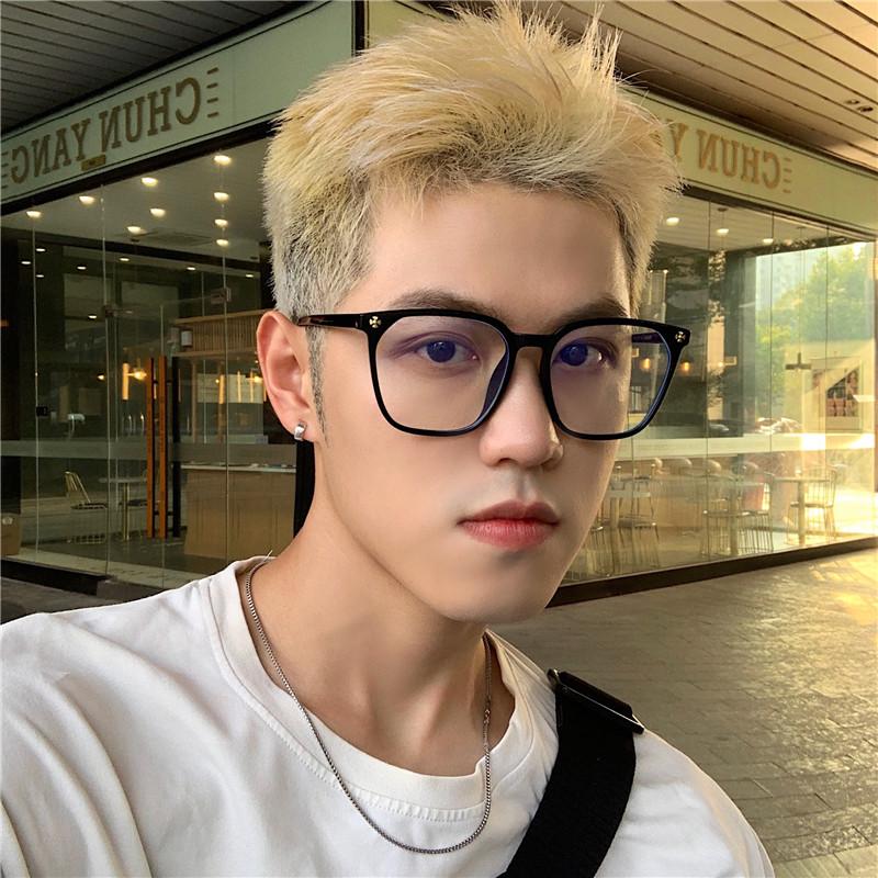 日系方框眼镜黑色粗边素颜韩版潮男平...