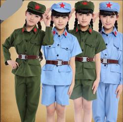儿童军装中性红军闪闪红星演出舞蹈服装红军衣服男女童小雷锋表演