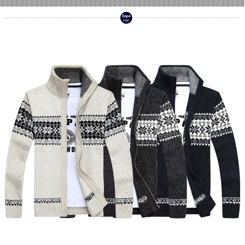 Special price every day autumn and winter mens thickened high collar pattern sweater sweater Korean sweater business solid color cardigan