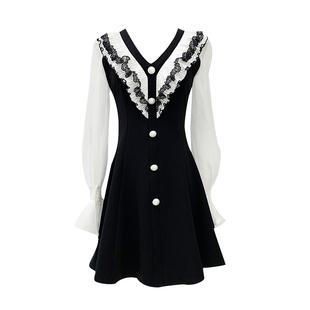 2020年新款法式氣質輕熟風連衣裙女秋款裙子赫本風小黑裙收腰顯瘦