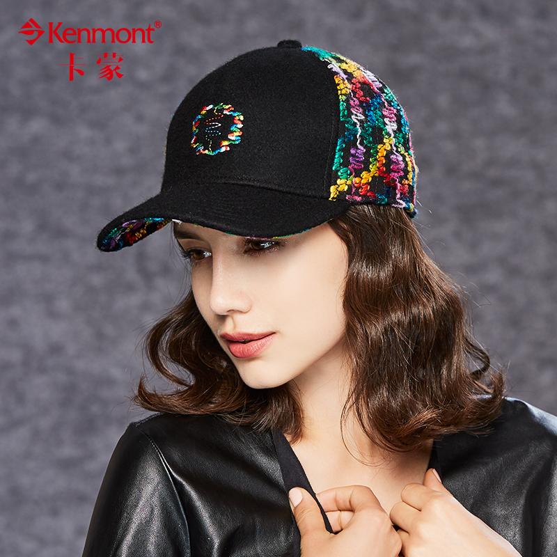 卡蒙 秋冬季棒球帽女韩版潮羊毛帽时尚刺绣毛呢帽户外保暖鸭舌帽