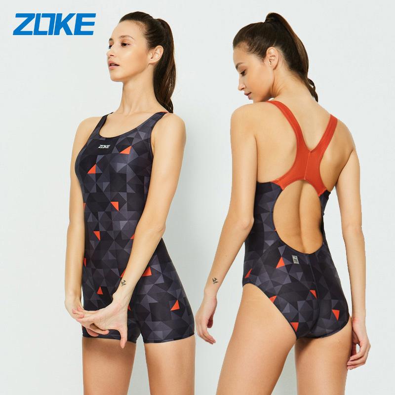 zoke洲克泳衣女连体运动保守遮肚泳装小胸聚拢时尚显瘦训练游泳衣
