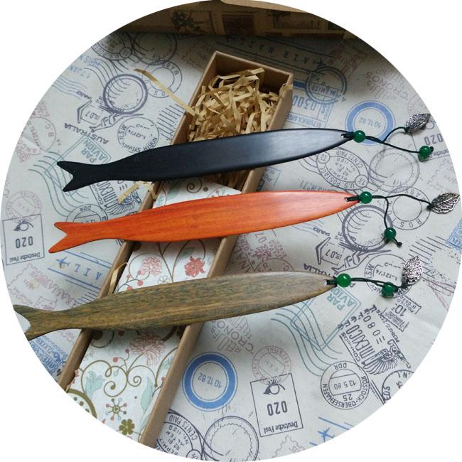 創意中國古風雙魚綠珠檀木書簽