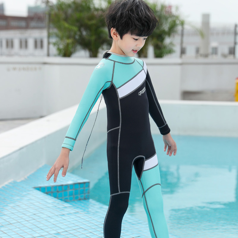 Thickened childrens Swimsuit Boys Boys middle and small girls long sleeve trousers warm hot spring full body Korean swimsuit