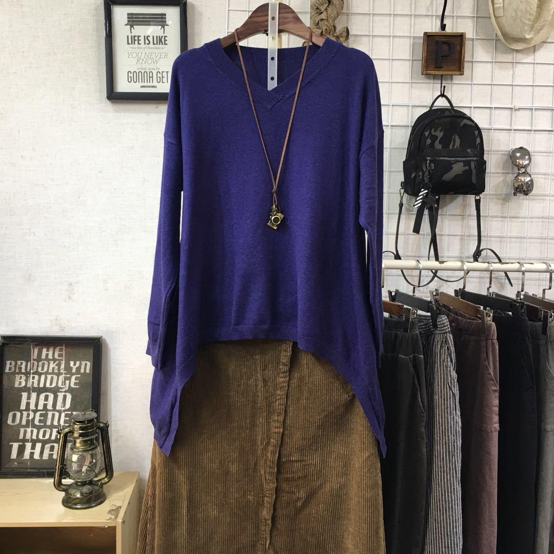 春秋季新款韩版女装宽松大码文艺纯色V领长袖套头针织衫毛衣线衫
