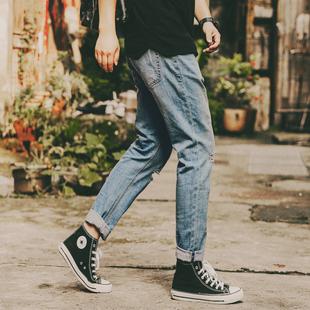 夏季洗水男士九分牛仔裤男弹力修身小脚裤9分乞丐宽松哈伦裤薄款价格