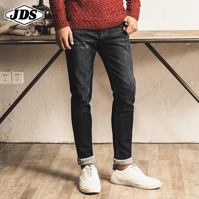 冬季加绒加厚牛仔裤男直筒修身弹力牛小脚裤保暖潮流男士长裤帅气