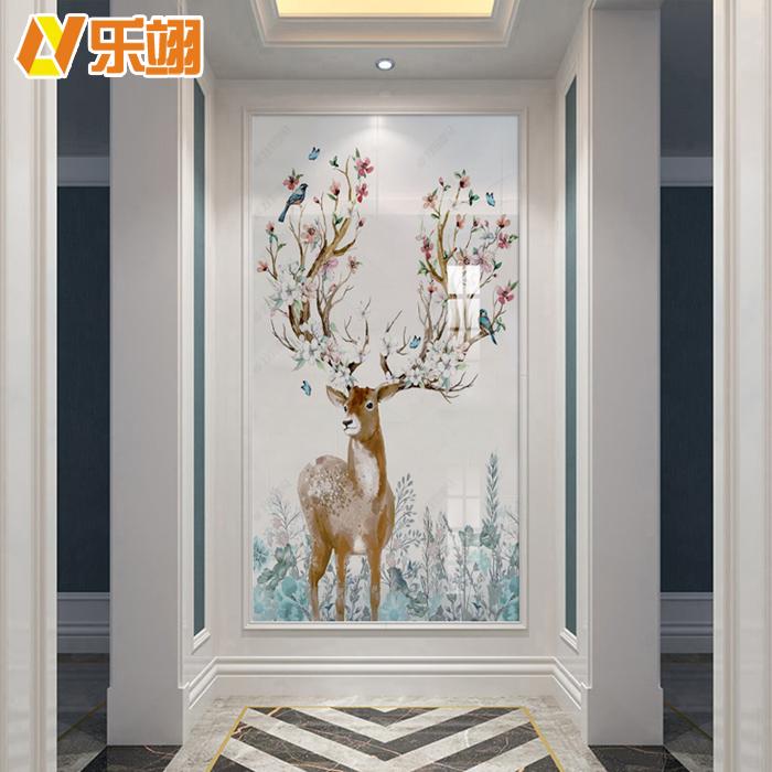 北欧玄关背景墙瓷砖现代过道走廊瓷砖壁画迎门墙装饰画麋鹿餐厅26.80元包邮
