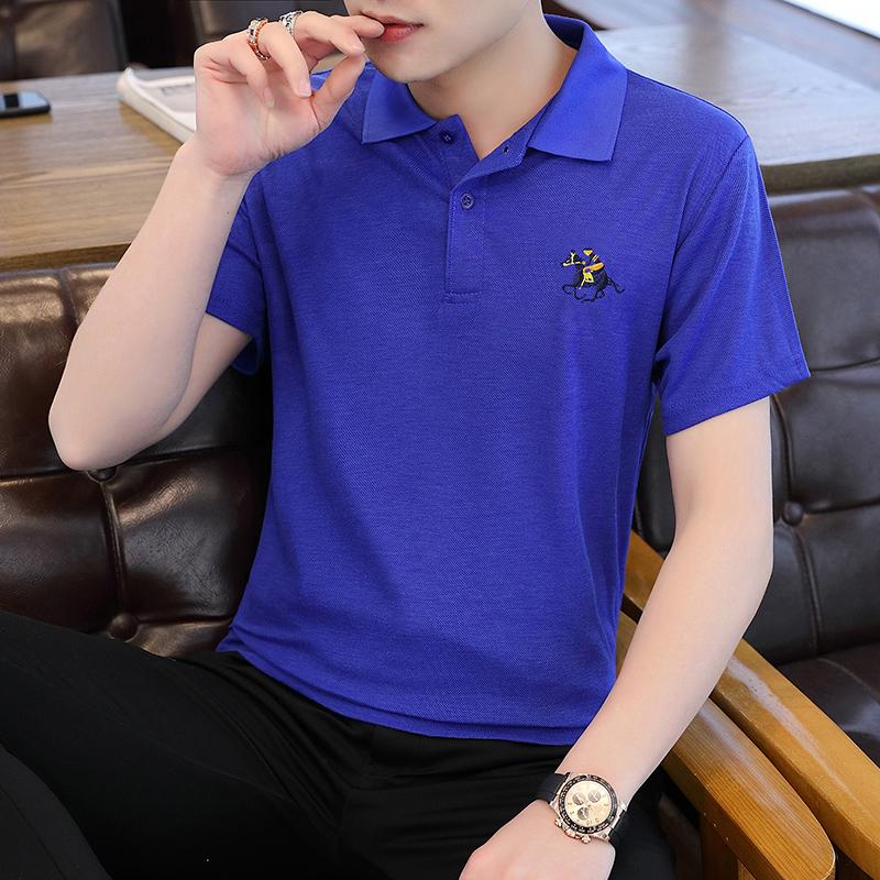 20夏装新款跑量T恤青年修身POLO衫打底衫半袖男上衣蓝色T202-P15
