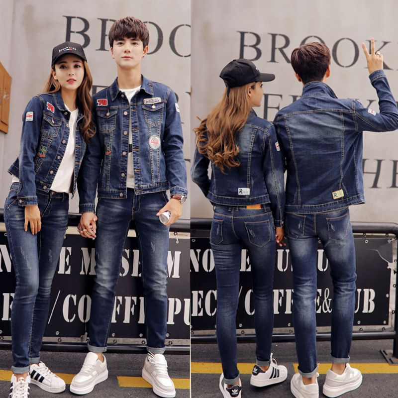 2019 spring and autumn couple denim suit mens and womens Korean Edition students two-piece coat temperament trend jacket