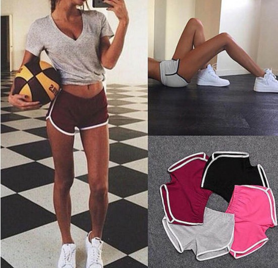 欧美运动短裤女 家居瑜珈沙滩裤10个颜色6个码大量现货7246(用1元券)