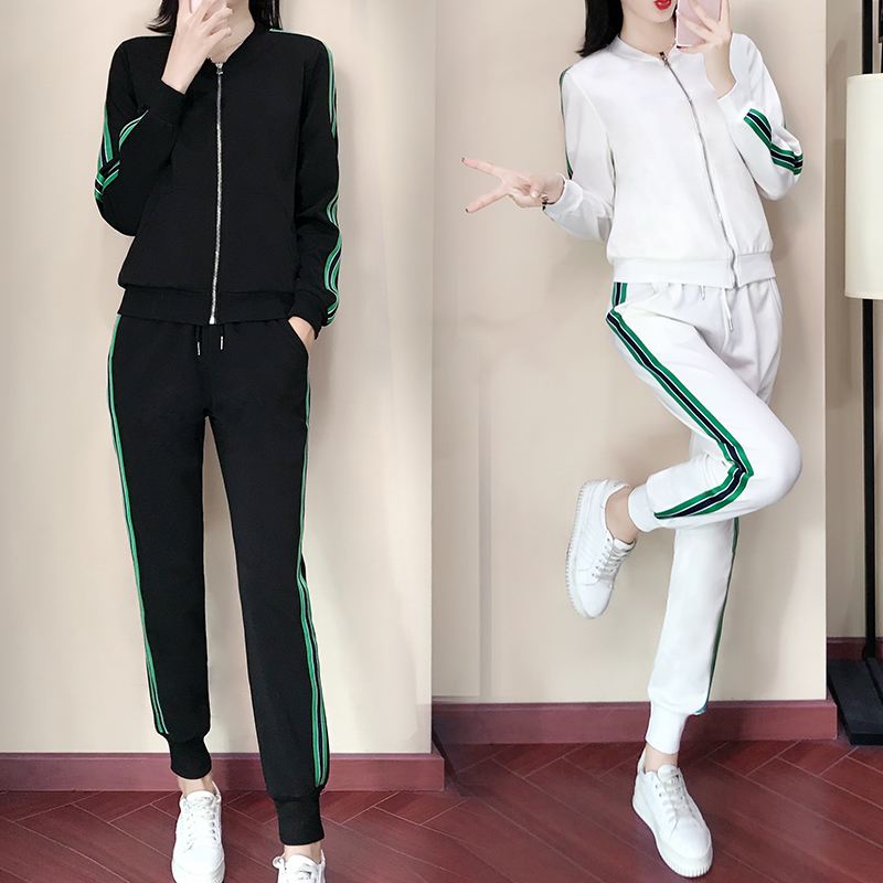 Spring And Autumn Women's New Wave Korean Version Loose And Thin Sports Wear Two Piece Leisure Fashion Baseball Suit Suit
