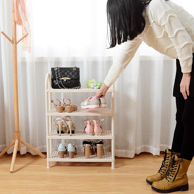 塑料鞋架简易门口多层组装寝室宿舍小号鞋架子家用鞋柜白色收纳架
