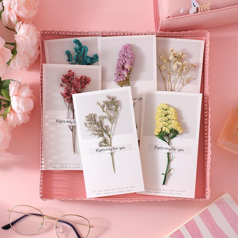 [花意]DIY手工情人节贺卡干花生日祝福卡片创意同学男女朋友礼物