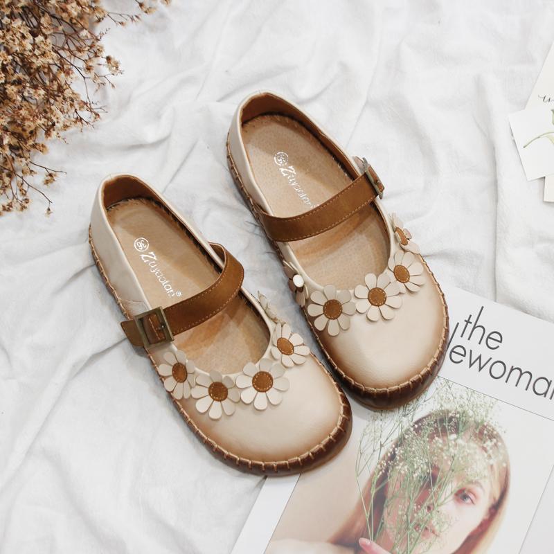 森女单鞋夏日系新款真皮一字扣带玛丽珍鞋复古花朵平底大头娃娃鞋