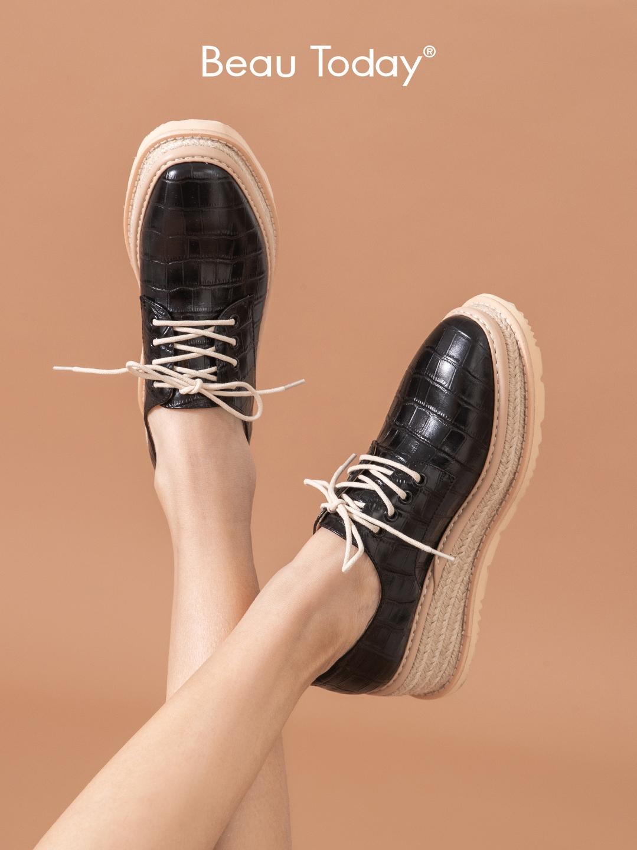 松糕皮鞋百搭牛津平底女鞋单鞋高跟小BeauToday2020春款新款厚底