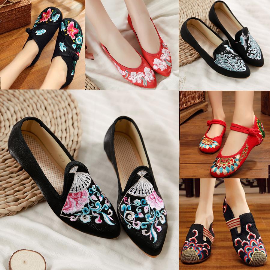老北京女布鞋绣花鞋女鞋内增高牛筋软底坡跟中国民族风复古舞蹈鞋
