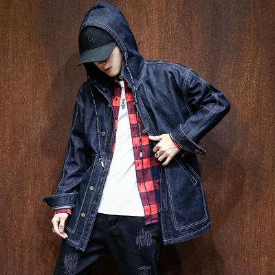 2017秋季新款牛仔风衣男士连帽风衣外套青中长款休闲衣D8026-P105