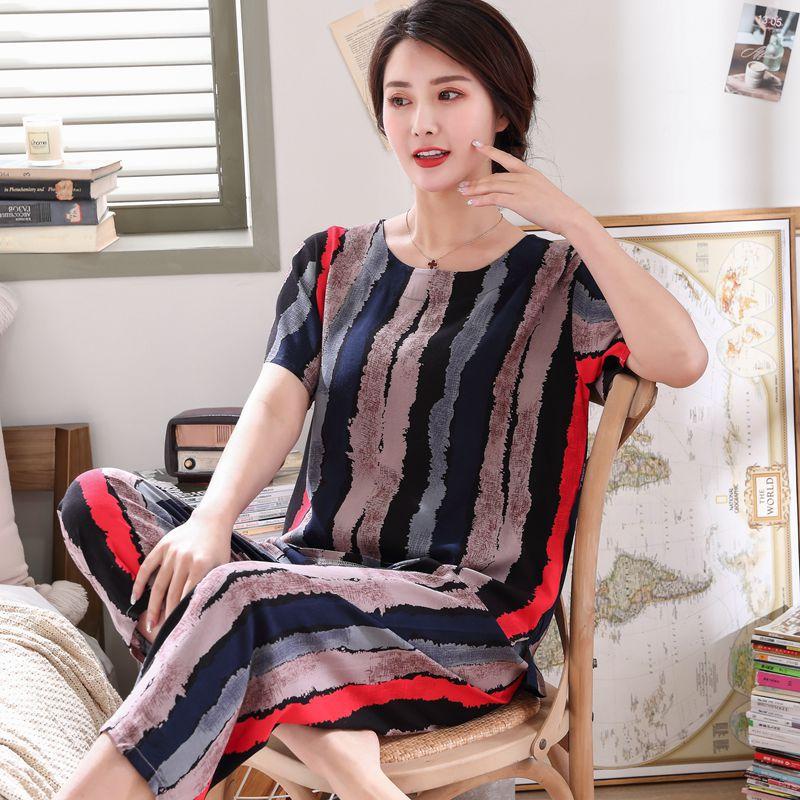 中老年人造棉睡衣女士夏季棉绸短袖套装绵绸妈妈装加大码家居服