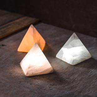 简约现代客厅灯具卧室台灯元渡金字塔矿石充电感应床头小夜灯