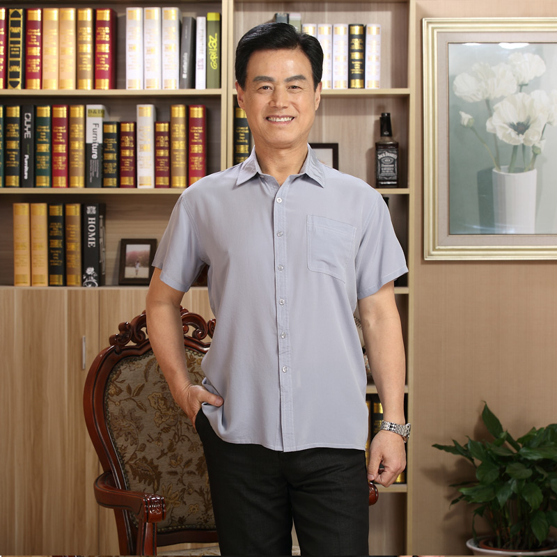 Summer mulberry silk shirt mens Half Sleeve Silk mens short sleeve shirt silk pocket top dads
