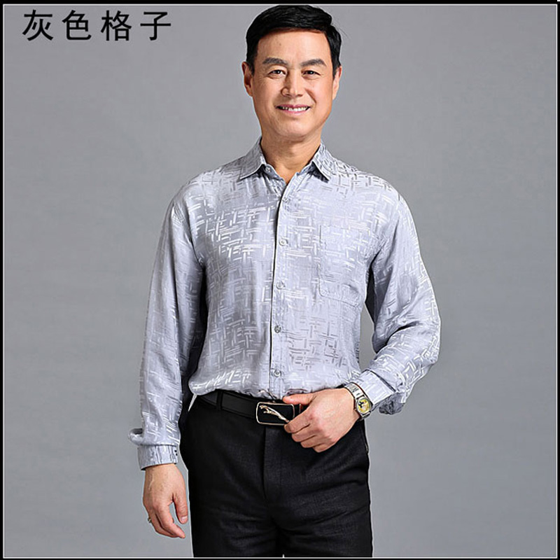 New middle aged and old mens Silk Long Sleeve Shirt 100% Silk fathers summer shirt silk mens coat