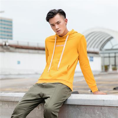 日系原创休闲18秋季新款男外套 印花连帽套头时尚卫衣2013黄色P95