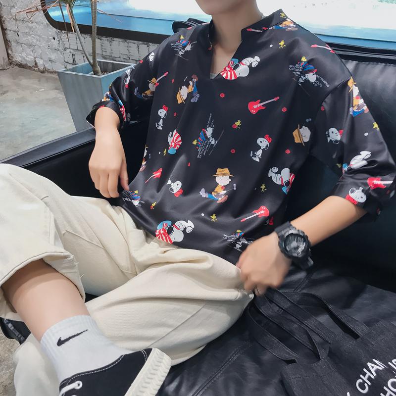18夏季新品衬衫男卡通V领五分袖衬衣男欧版中袖衬衫1925-黑色P55