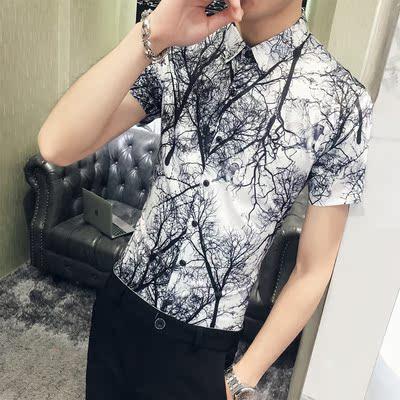 2018夏季新款短袖衬衫 男士时尚树林印花衬衣 韩版修身1909-P50