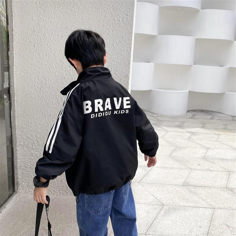 儿童立领夹克春秋男童运动外套百搭2021新款童装黑色拉链开衫韩版