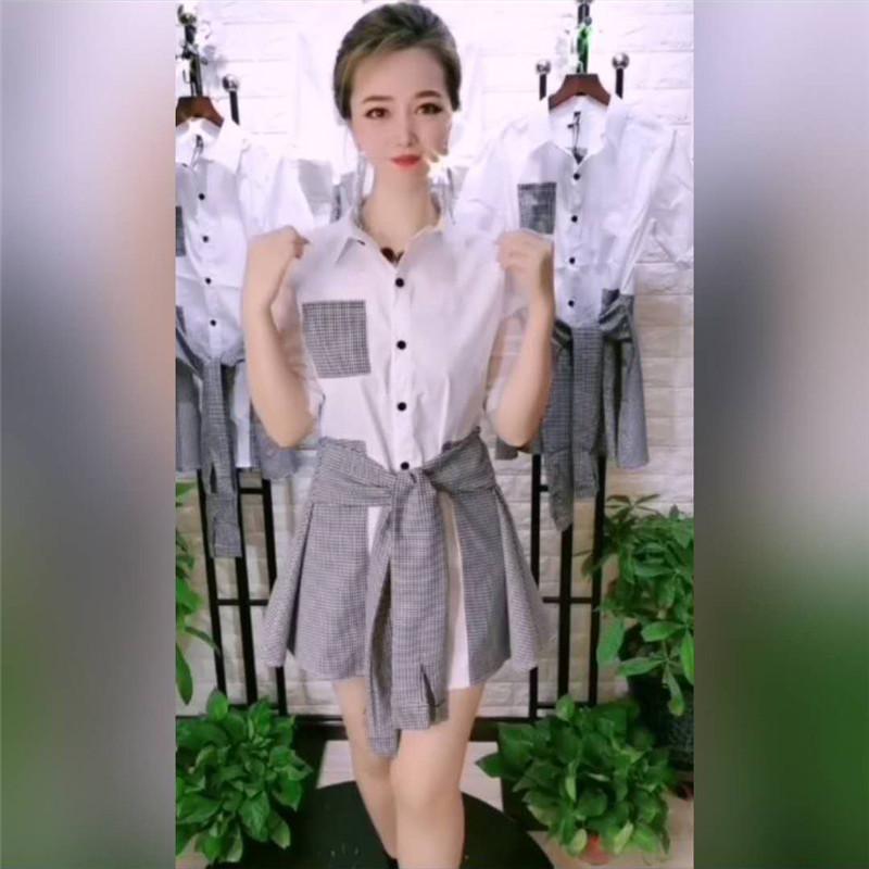 2020春夏新款五分袖系带拼接格子衬衫裙洋气高腰显瘦假两件连衣裙