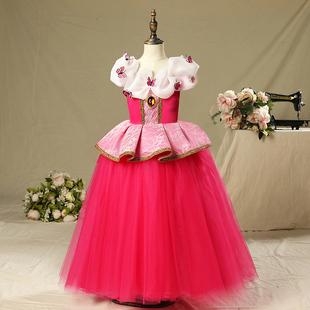 六一爱洛公主裙迪士尼冰雪奇缘裙子蓬蓬纱女童连衣裙演出服睡美人
