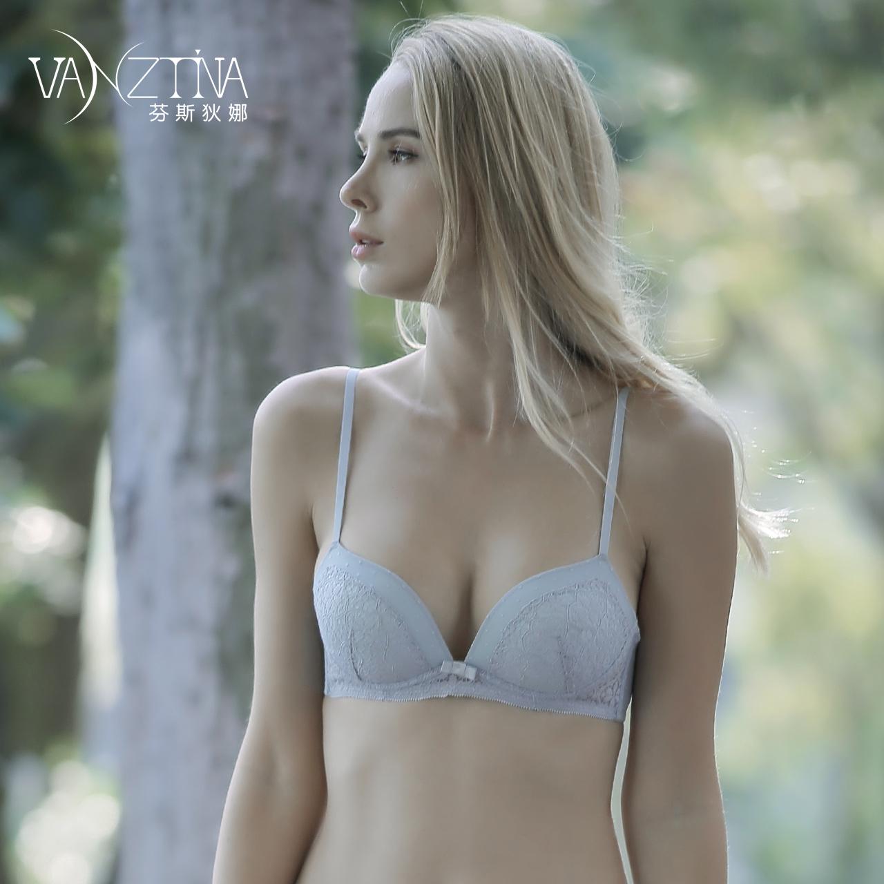 芬斯狄娜无钢圈内衣小胸薄款美背女聚拢性感法式收副乳文胸罩套装
