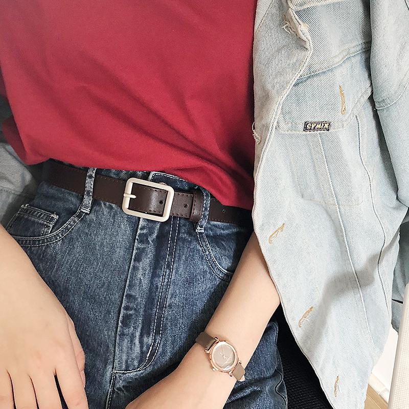 14.90元包邮韩国百搭复古黑色细腰带女酷ins BF风韩版学生青年皮带休闲裤带女