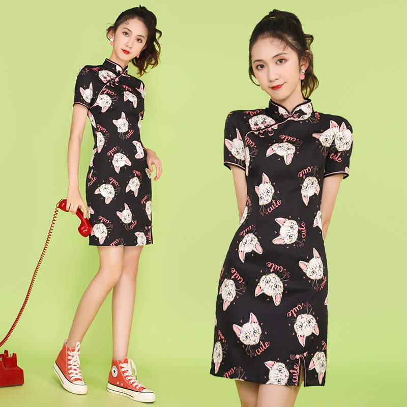 8171 real shot fashion improved cheongsam dress lovely sweet everyday life dress young girl Chinese style