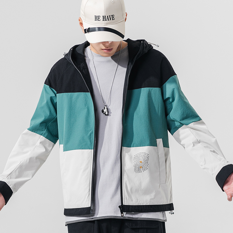 Menswear 2022 spring and autumn new trend ins hooded loose coat mens color matching casual jacket men