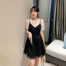 小个子2020夏季新款黑色气质连衣裙优雅吊带裙两件套MYOU自制