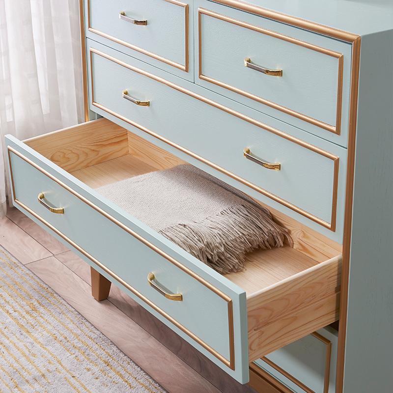 アメリカの田舎の軽贅沢な五斗の箱の本当の木の引き出しの収納棚は近代的で簡単に北欧の寝室の収納の箱の辺の戸棚を予約します。