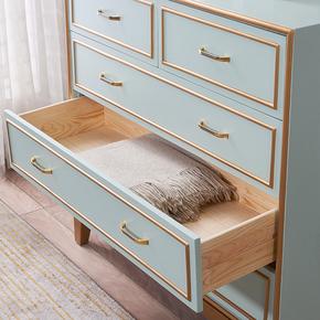 美式乡村轻奢五斗柜实木抽屉储物柜现代简约北欧卧室收纳柜边柜子