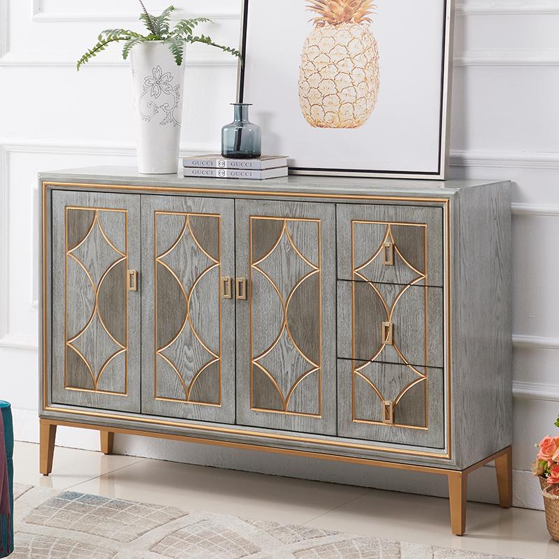 アメリカー式の軽贅沢玄関箱のアイデアは簡単で現代的な収納棚の収納物の仕切りとサイドキャビネットの戸棚に入れます。