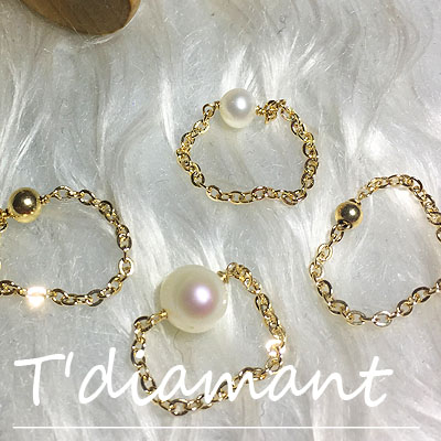 Tdiamant special package: 14k Gold Beads, natural pearls, stacked rings, imported from the United States