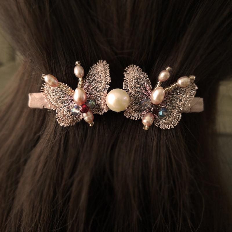 妮巫手作天然珍珠蝴蝶刺绣边卡小夹子盘发森女成人发饰品精致优雅