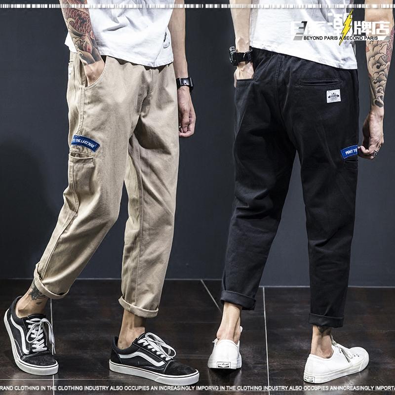 原创潮牌宽松潮流工装裤男夏季直筒休闲裤日系黑色九分裤学生长裤
