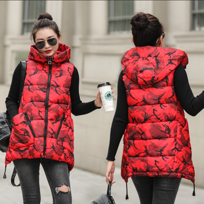 2019 winter new type cotton vest womens winter loose Korean version medium length thickened down Cotton Vest Jacket trend