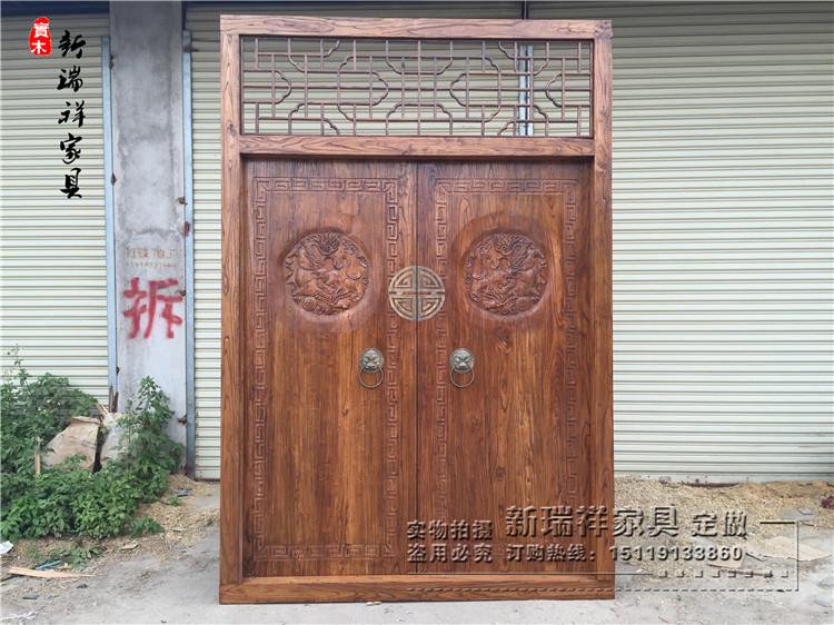 仿古榆木门镂空花格庭院门寺庙祖屋老木门双开门雕刻大门实木大门