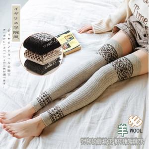 秋冬季羊毛长筒袜女日系过膝袜护膝高筒袜羊毛袜套加厚半截长袜子